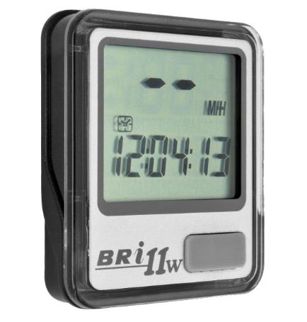 Велокомпьютер BRI-11W, беспроводной, 11 функций, серебристый