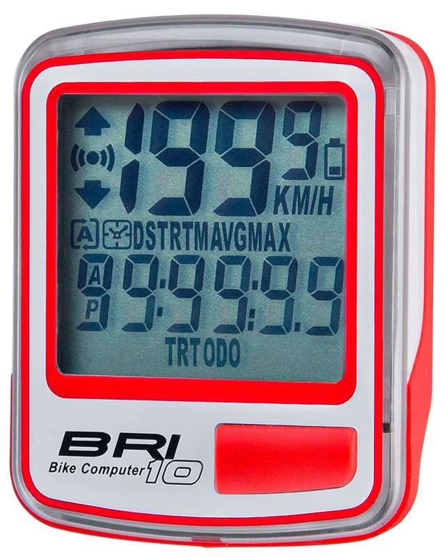 Велокомпьютер BRI-10 10 функций бело-красный