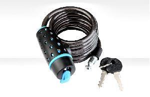 Трос-замок 87318 дл. 1800мм, диам. 8 мм, чёрно-синий