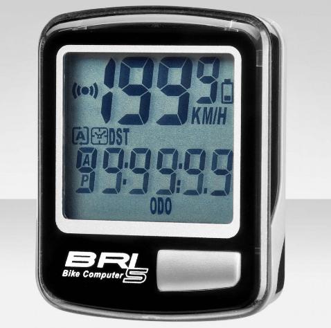 Велокомпьютер BRI-5 серый, 5 функций